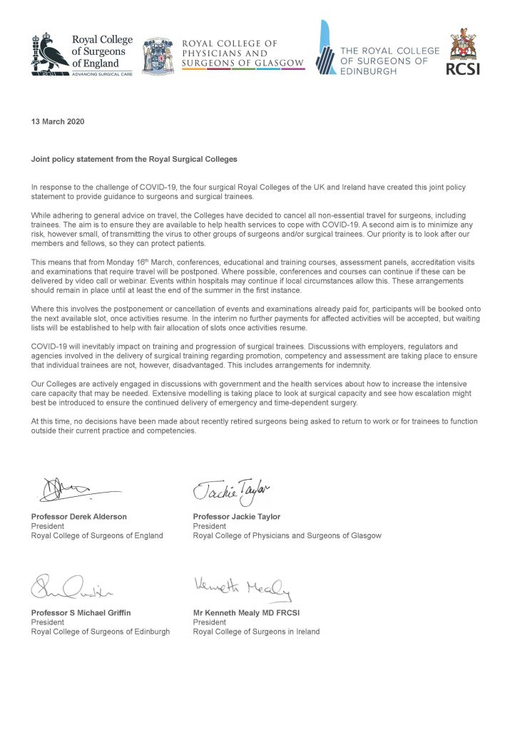 royal colleges statements